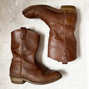 DOUBLE H Ranch Wellington Work Boots Size 10 EE Cognac Brown Steel Toe USA